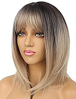 cheap -lancaini short bob wigs with bangs ombre blonde straight shoulder length synthetic wig for women heat resistant wig for party daily wear