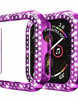 cheap -Smart watch Case  apple watch se series 6 5 4 3 2 1 double row diamond pc plating bumper case bling crystal diamonds shiny glitter frame hard protective cover for iwatch 44mm 40mm 42mm 38mm (42mm)