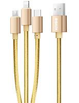preiswerte -Micro-USB Lightning USB C Kabel 1 bis 3 2.1 A 1.2m (4Ft) PVC Für Samsung Huawei iPhone Handy-Zubehör