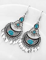 cheap -turquoise bohemian dangle earrings drop earrings water drop tassel earrings royal style classical hollow carved earring