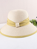 cheap -Vintage Style Elegant Straw Hats / Headwear / Straw Hats with Ruching / Split Joint / Trim 1 PC Casual / Holiday Headpiece