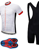 cheap -21Grams Men's Short Sleeve Cycling Jersey with Bib Shorts Summer Spandex Polyester White Geometic Bike Clothing Suit 3D Pad Quick Dry Moisture Wicking Breathable Reflective Strips Sports Geometic
