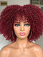 cheap -10Inch Afro Bomb Wigs for Black Women Short Kinky Curly Wig with Bangs Synthetic Heat Resistant Full Wigs( Red) No Colored Headband