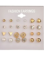 cheap -golden earrings set 12 pairs one card multiple pairs of square zircon love diamond earrings jewelry