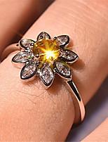 cheap -Ring 3D Gold Copper Rhinestone Gold Plated Flower Precious Fashion 1pc 7 8 9 / Women's
