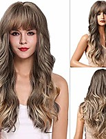 cheap -24inch long wavy wig with bangs highlight brown wig natural curly hair synthetic heat resistant fiber 150% density wigs for women daily cosplay party