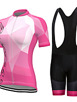 cheap -Women's Short Sleeve Cycling Jersey with Shorts Summer Spandex Black Pink Bike Quick Dry Breathable Sports Geometric Mountain Bike MTB Road Bike Cycling Clothing Apparel / Stretchy / Athletic