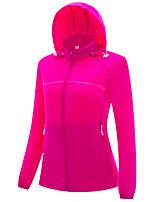 cheap -Women's Hiking Windbreaker Hoodie Jacket Hiking Skin Jacket Summer Outdoor UV Sun Protection Quick Dry Lightweight Breathable Outerwear Coat Top Hunting Fishing Climbing 690 Rose Red / Female 690