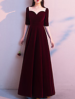 cheap -A-Line Minimalist Vintage Wedding Guest Formal Evening Dress Illusion Neck Half Sleeve Floor Length Velvet with Pleats 2021