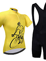 cheap -21Grams Men's Short Sleeve Cycling Jersey with Bib Shorts Summer Spandex Polyester Black / Yellow Bike Clothing Suit 3D Pad Quick Dry Moisture Wicking Breathable Reflective Strips Sports Graphic