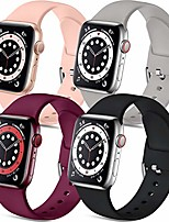 cheap -muranne compatible with apple watch band 40mm 38mm iwatch se & series 6 5 4 3 2 1 for women men, stylish durable soft silicone sport watch band, 4 pack, black gray wine red pink, m/l