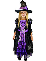 cheap -Witch Dress Hat Kid's Girls' Halloween Halloween Halloween Children's Day Festival / Holiday Polyester Black Easy Carnival Costumes Solid Color