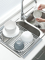 cheap -Stainless Steel Kitchen Drainer Rack Magic Rolling Rack Kitchenware Drain Vegetable Fruit Spoon Filter Shelf Strainer Kitchen Tools Accessories