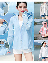 cheap -Women's Hoodie Jacket Hiking Skin Jacket Hiking Windbreaker Summer Outdoor UV Sun Protection Quick Dry Lightweight Breathable Outerwear Coat Top Hunting Fishing Climbing Light Blue Blushing Pink