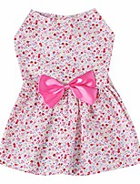 cheap -shineweb summer dogs puppy dress floral print bow skirt pet soft outfit party clothes dog t-shirt cat supplies pink s