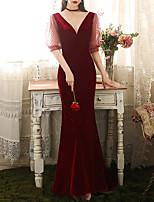cheap -Mermaid / Trumpet Elegant Sexy Prom Formal Evening Dress V Neck Half Sleeve Sweep / Brush Train Velvet with Sleek 2021