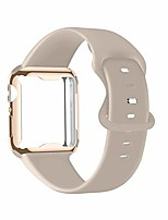cheap -ruoqini smartwatch band with case compatible for apple watch band, silicone sport band and tpu case for iwatch series 6/5/4/3/2/1/se,stone band with gold case in 40ml size