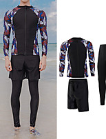 cheap -Men's Rash Guard Dive Skin Suit Swimwear UV Sun Protection UPF50+ Quick Dry Stretchy Long Sleeve 3-Piece Front Zip - Swimming Diving Surfing Snorkeling Autumn / Fall Spring Summer