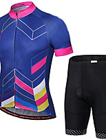 cheap -21Grams Men's Short Sleeve Cycling Jersey with Shorts Summer Spandex Polyester Blue Bike Clothing Suit 3D Pad Quick Dry Moisture Wicking Breathable Reflective Strips Sports Geometric Mountain Bike