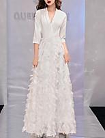 cheap -Sheath / Column Minimalist Elegant Wedding Guest Formal Evening Dress V Neck Half Sleeve Floor Length Spandex with Criss Cross 2021