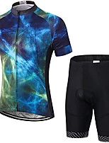 cheap -21Grams Men's Short Sleeve Cycling Jersey with Shorts Summer Spandex Polyester Blue Galaxy Bike Clothing Suit 3D Pad Quick Dry Moisture Wicking Breathable Reflective Strips Sports Galaxy Mountain