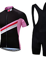 cheap -21Grams Men's Short Sleeve Cycling Jersey with Bib Shorts Summer Spandex Polyester Pink / Black Stripes Bike Clothing Suit 3D Pad Quick Dry Moisture Wicking Breathable Reflective Strips Sports Stripes