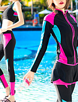 cheap -Women's Rash Guard Dive Skin Suit Spandex Swimwear UV Sun Protection UPF50+ Quick Dry Stretchy Long Sleeve 4-Piece - Swimming Diving Surfing Snorkeling Patchwork Autumn / Fall Spring Summer