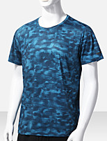 cheap -Men's T shirt Hiking Tee shirt Short Sleeve Tee Tshirt Top Outdoor Quick Dry Lightweight Breathable Sweat wicking Autumn / Fall Spring Summer Colorful blue Black Light Gray Fishing Climbing Camping