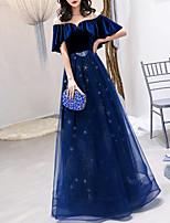 cheap -A-Line Glittering Elegant Engagement Formal Evening Dress Illusion Neck Half Sleeve Floor Length Tulle Velvet with Crystals 2021