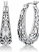 cheap -oxidized 925 sterling silver filigree hoop earrings for women vintage white gold plated oval hoop earrings