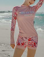 cheap -Women's Rashguard Swimsuit Spandex Swimwear UV Sun Protection UPF50+ Quick Dry Stretchy Long Sleeve 2 Piece - Swimming Surfing Snorkeling Autumn / Fall Spring Summer