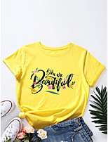 cheap -letters floral print o-neck t-shirt