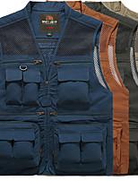 cheap -Men's Hiking Vest / Gilet Fishing Vest Jacket Coat Top Outdoor Quick Dry Lightweight Breathable Sweat wicking Autumn / Fall Spring Summer ArmyGreen Orange khaki Hunting Fishing Climbing