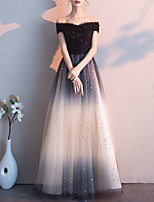 cheap -A-Line Glittering Gradient Party Wear Formal Evening Dress Off Shoulder Short Sleeve Floor Length Lace Tulle with Sequin 2021
