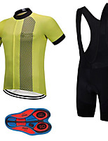 cheap -21Grams Men's Short Sleeve Cycling Jersey with Bib Shorts Summer Spandex Polyester Black / Yellow Stripes Bike Clothing Suit 3D Pad Quick Dry Moisture Wicking Breathable Reflective Strips Sports