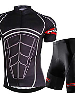 cheap -21Grams Men's Short Sleeve Cycling Jersey with Shorts Summer Spandex Polyester Black Bike Clothing Suit 3D Pad Quick Dry Moisture Wicking Breathable Reflective Strips Sports Graphic Mountain Bike MTB