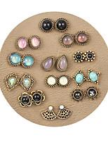 cheap -fashion 12 pairs of shell opal earrings set female popular retro turquoise earrings
