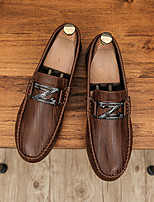 cheap -Men's Loafers & Slip-Ons Driving Shoes British Daily Nappa Leather Breathable Non-slipping Wear Proof White Black Brown Spring Summer