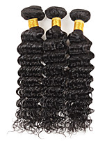 cheap -Ishow 3 Bundles Human Hair Weaves Brazil Hair 100% Human Hair 3 Pieces Deep Human Hair Combination Outfit 8-28 Inch Hair Extensions