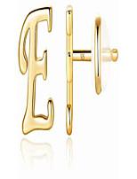 cheap -sterling silver stud earrings, 14k gold plated dainty letter earrings sterling silver initial stud earrings hypoallergenic earrings for women girls (e)