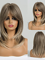 cheap -Synthetic Wig kinky Straight Natural Wave Layered Haircut With Bangs Wig 20 inch Light Brown Synthetic Hair 20 inch Women's Fashionable Design Soft Natural Brown