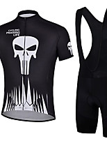 cheap -21Grams Men's Short Sleeve Cycling Jersey with Bib Shorts Summer Spandex Polyester Black Sugar Skull Skull Bike Clothing Suit 3D Pad Quick Dry Moisture Wicking Breathable Reflective Strips Sports