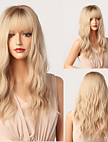 cheap -Synthetic Wig Loose Wave Natural Wave With Bangs Wig 22 inch Ombre Blonde Synthetic Hair 22 inch Women's Elastic Natural Fashion Blonde Ombre