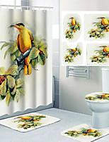 cheap -Cartoon Bird Pattern Printing Bathroom Shower Curtain Leisure Toilet Four-piece Design 72 Inch