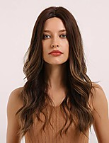 cheap -emmor long brown wig for women and lady, natural synthetic wavy wigs long curly middle part wigs, party cosplay daily us