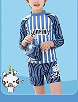 cheap -Boys' Rashguard Swimsuit Spandex Swimwear UV Sun Protection UPF50+ Quick Dry Stretchy Long Sleeve Swimming Surfing Snorkeling Patchwork Autumn / Fall Spring Summer / Kid's