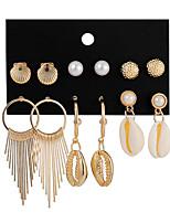 cheap -shell earrings set fashion popular tassel metal earrings female pearl earrings