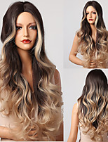 cheap -Synthetic Wig Wavy Natural Wave Middle Part Wig 26 inch Ombre Brown Synthetic Hair Women's Natural New Arrival Fashion Brown