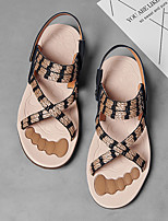 cheap -Men's Sandals Beach Daily PU Breathable Non-slipping Wear Proof Light Brown Black Summer