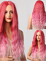 cheap -halloweencostumes Long Wavy Pink Ombre Synthetic Wigs Natural Middle Part Wigs for Women Daily Cosplay Hair Wigs Heat Resistant